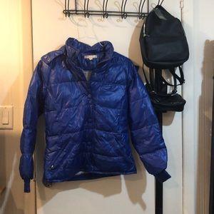 Beautiful cobalt blue puffer jacket with hood